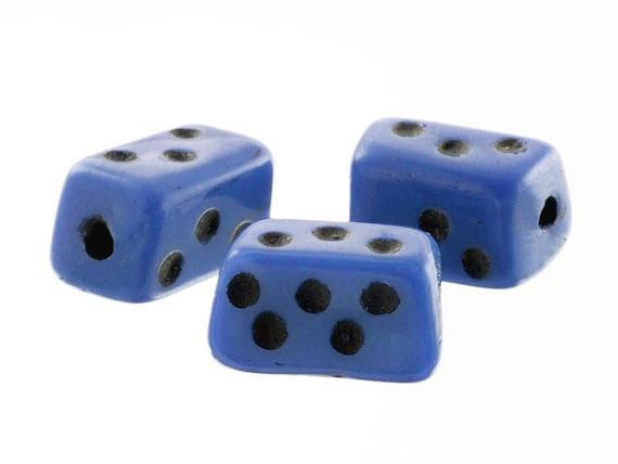 144 Blue Trade Beads, 8mm Vintage Czech Primitive Domino Dice Bead, Jewelry Craft, Mixed Media, Wholesale Quantity Discount Beads, Destash