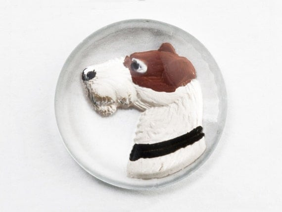 4 Dog Intaglios, 21mm Reverse Carved Painted Embossed Glass Dome, Airedale Terrier Dog, Vintage German Crystal Painting Essex Sport Stone