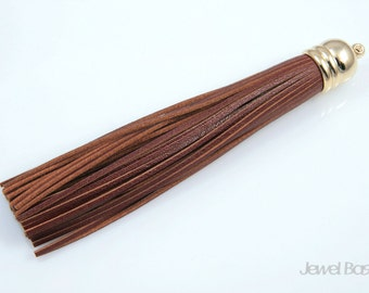 Chestnut Color Leather Tassel with Gold Cap / 12mm x 98mm / ECHG002-P (1pcs)