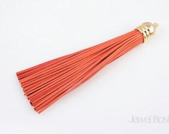 Orange Color Leather Tassel with Cap / 12mm x 98mm / EORG002-P (1pcs)