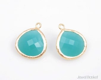 2pcs - Mint Color and Gold Framed Glass Pendent / mint / 16k gold plated / glass / pendant / bezel / 15 x 18mm, Earrings Pendant / SMTG007-P