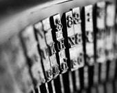 Typewriter. Black and White Wall art. Macro photography