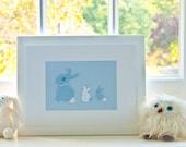 Framed Bunny Nursery, Blue Crochet Bunny Picture, The Nursery Boutique, Christening Gift for Boys, Nursery Wall Art, New Baby Boy Gift