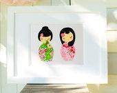 Twin Girls Gift, Teen Girls Bedroom Art, Limited Edition Pink & Green Kokeshi Dolls, Baby Girl Nursery, Nursery Decor, Christening Gift