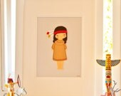 Girls Bedroom Art, Cowboys and Indians, Nursery Decor, Nursery Wall Art, Girls Christening Gift, American Indian Girl Felt Picture