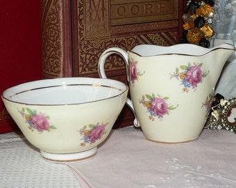 Paragon Yellow Floral Bouquet Creamer and Sugar Bowl set