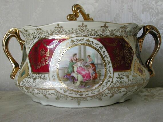 ES Prussia Prov Sxe Portrait Allegorical Cracker Biscuit Jar