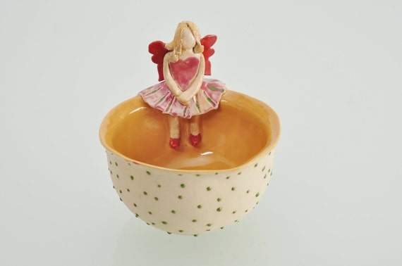 Magical Ginger Fairy bowl, colorful, serving bowls with dots