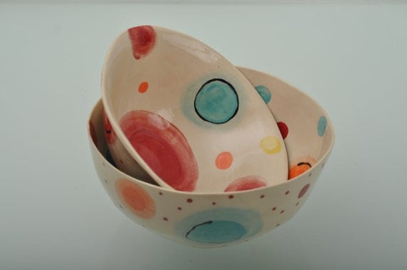 Handmade ceramic Salad bowl, serving bowl, hand painted, Colorful bowl, Dots and Spirals , Turquoise inner base
