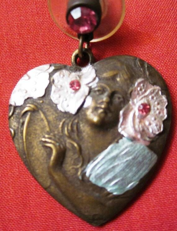 Earrings Mucha Art Nouveau Style Heart