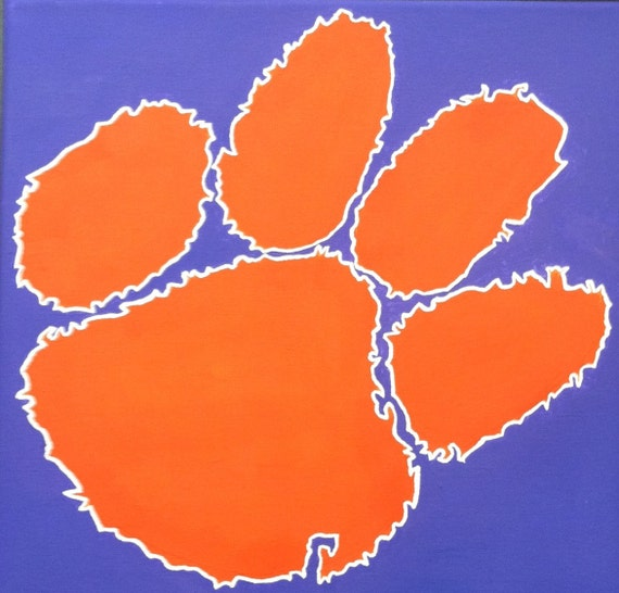 Hand-Painted Clemson Tiger Paw