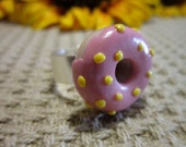 Pink Frosted Donut Adjustable Ring