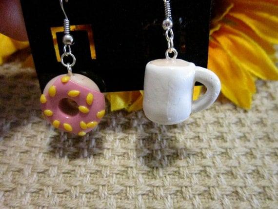 Coffee and Donut Dangle Earrings