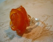 Orange Sunset Resin Rose Wire Wrapped Ring by Debbie Renee
