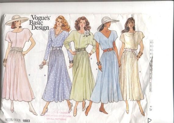 Vintage dress pattern  Vogue 1883