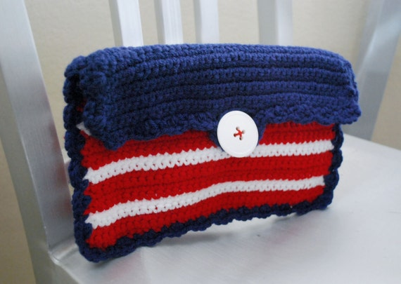 Crochet Clutch bag, Red, White and Blue for July 4th