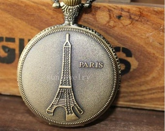 1pcs  Eiffel Tower  pocket watch charms pendant 45mmx45mm PW09