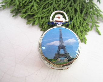 1pcs 25mmx25mm   Eiffel Tower  pocket watch charms pendant SZ023