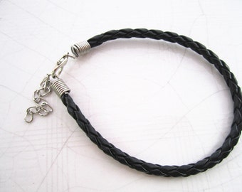 50pcs 7-9inch adjustable Black colors braided leather cord bracelet 4.0mm