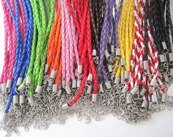 22pcs 17-19inch adjustable Mixed Color (11 color)Imitation Braided Leather Necklace Cord 3.0mm