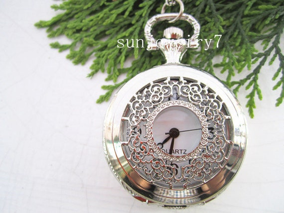 2pcs silver color flower pocket watch charms pendant  PW05   40mmx40mm