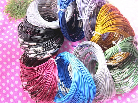 36pcs assorted color (9 color) 1.0mm  9inch stainless steel wire bracelet cord