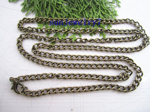 Lot of 15 pcs 28 inch 3mmx4mm Antique Brass Necklace Chain