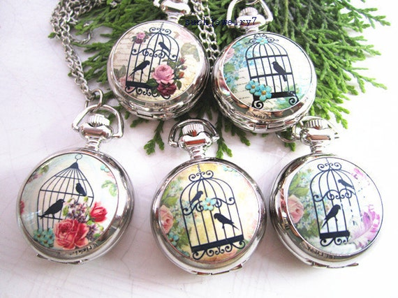 5pcs birdcage series Round pocket watch charms pendant  PW0066  25mmx25mm