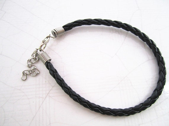10pcs 7-9inch adjustable Black colors braided leather cord bracelet 4mm