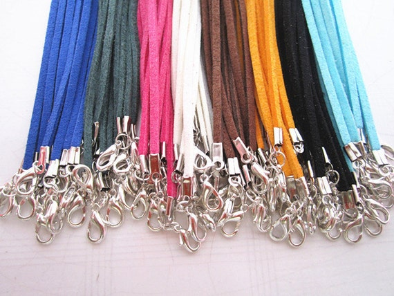 100pcs 3mm 16--18inch adjustable assorted colors(8colors) suede leather necklace cord
