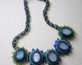 Nyneva bead embroidery blue necklace