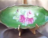 Vintage Beautiful Porcelain Tray with Green and Pink Roses and Gold Trim