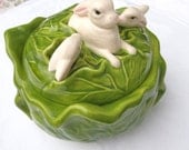 Adorable Lettuce/Cabbage Bowl with Bunnies