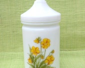Vintage Milk Glass Apothecary Jar with Yellow Flowers- Made in France - On Sale!