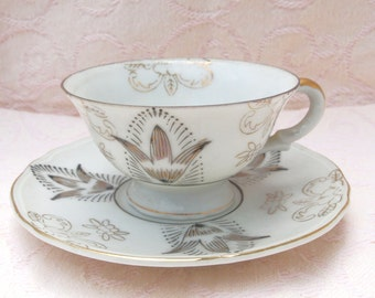 Vintage Demitasse Cup and Saucer Set Hand Painted Occupied Japan Demitasse Teacup Grey with Gold Mid Century
