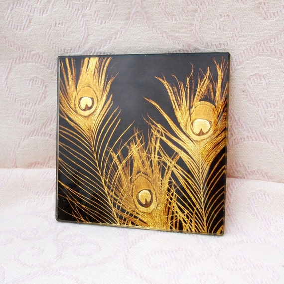 Peacock Feather Coasters - Black and Gold - Set of 4