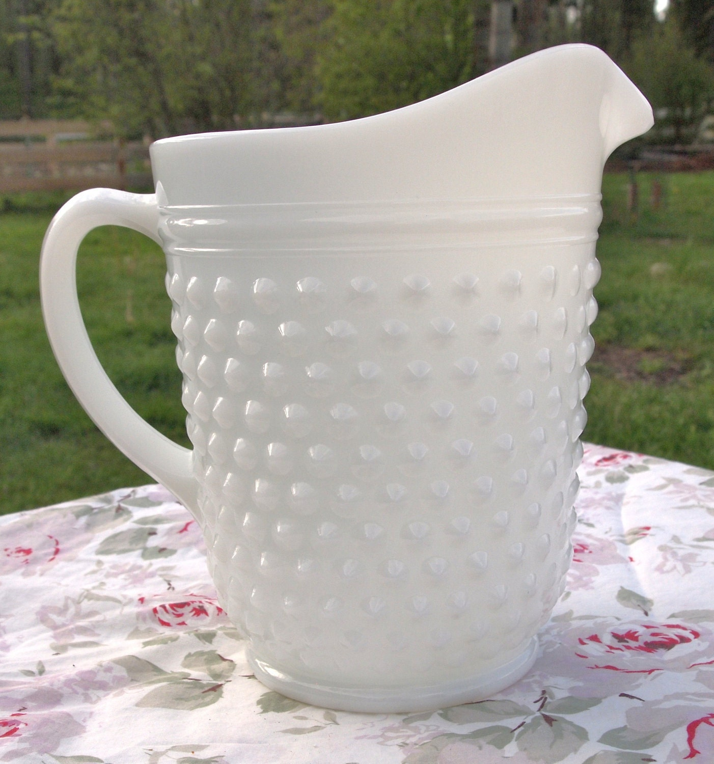 Large White Milk Glass Hobnail Ice Tea Water Pitcher