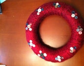 Cranberry and Black Handmade Yarn Wreath with Buttons