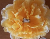 Yellow Peony Hair Clip Flower