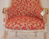 Vintage/Antique/Shabby Chic w/ New Pink and Tan Floral Upholstery