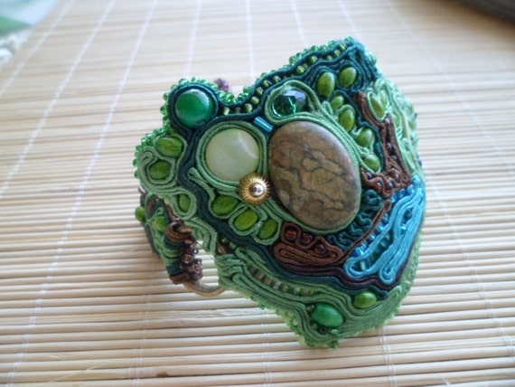 Jungle Fever, unique soutache bracelet. Handmade. Blue, brown, copper, shades of green.