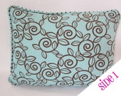 12 x 16 Reversible Pillow Cover - French Blue and Chocolate Brown