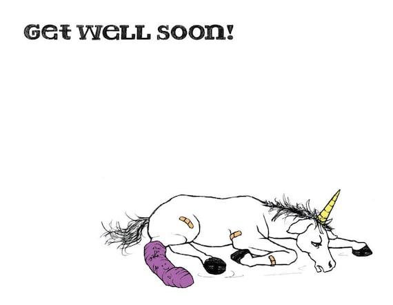 Get Well Soon Unicorn Card