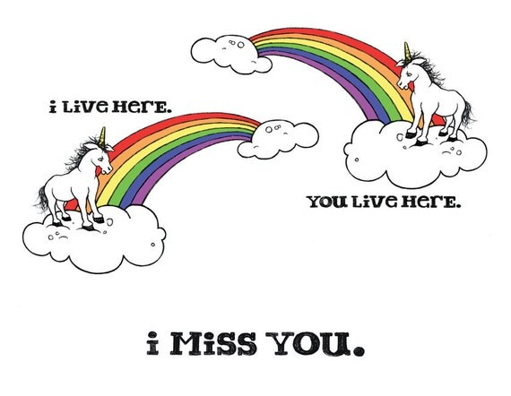 Missing You Unicorn Card