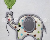 Elephant with Birthday Balloon Machine Embroidery Applique Design
