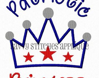 Patriotic Princess Machine Embroidery Applique Design