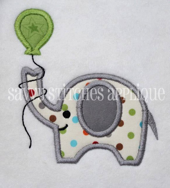 Elephant with Birthday Balloon Machine Embroidery Applique Design