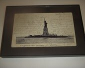 Statue of Liberty Vintage Framed Postcard