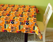 Custom tablecloth, construction birthday party, kids play table