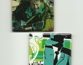 "2 Magnets BRIAN SETZER recycled CD insert from ""The Diry Boogie"" - one of a kind magnet set"